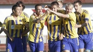 FK Ventspils players celebrate after scoring aganst Molde FK