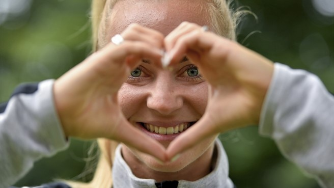 Sarah Puntigam of Austria supporting 'Healthy Hearts' at UEFA Women's EURO 2017, The Netherlands